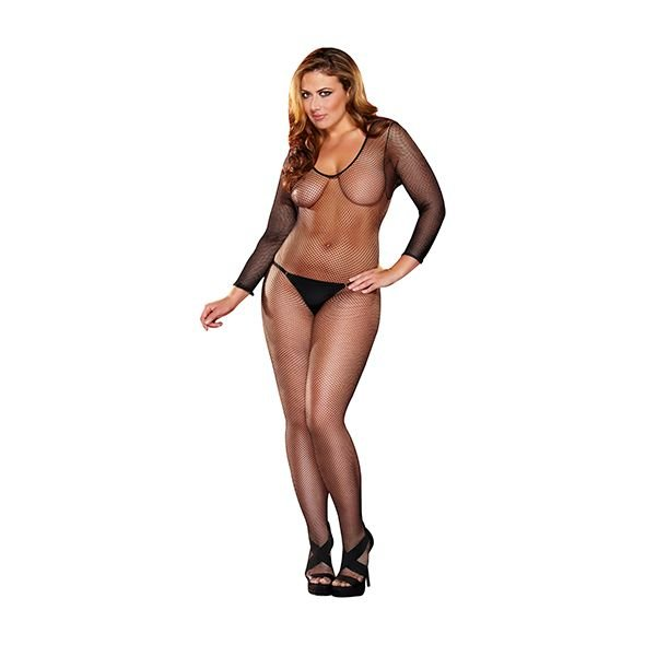 Crotchless Fishnet Bodystocking Schwarz Plus 1